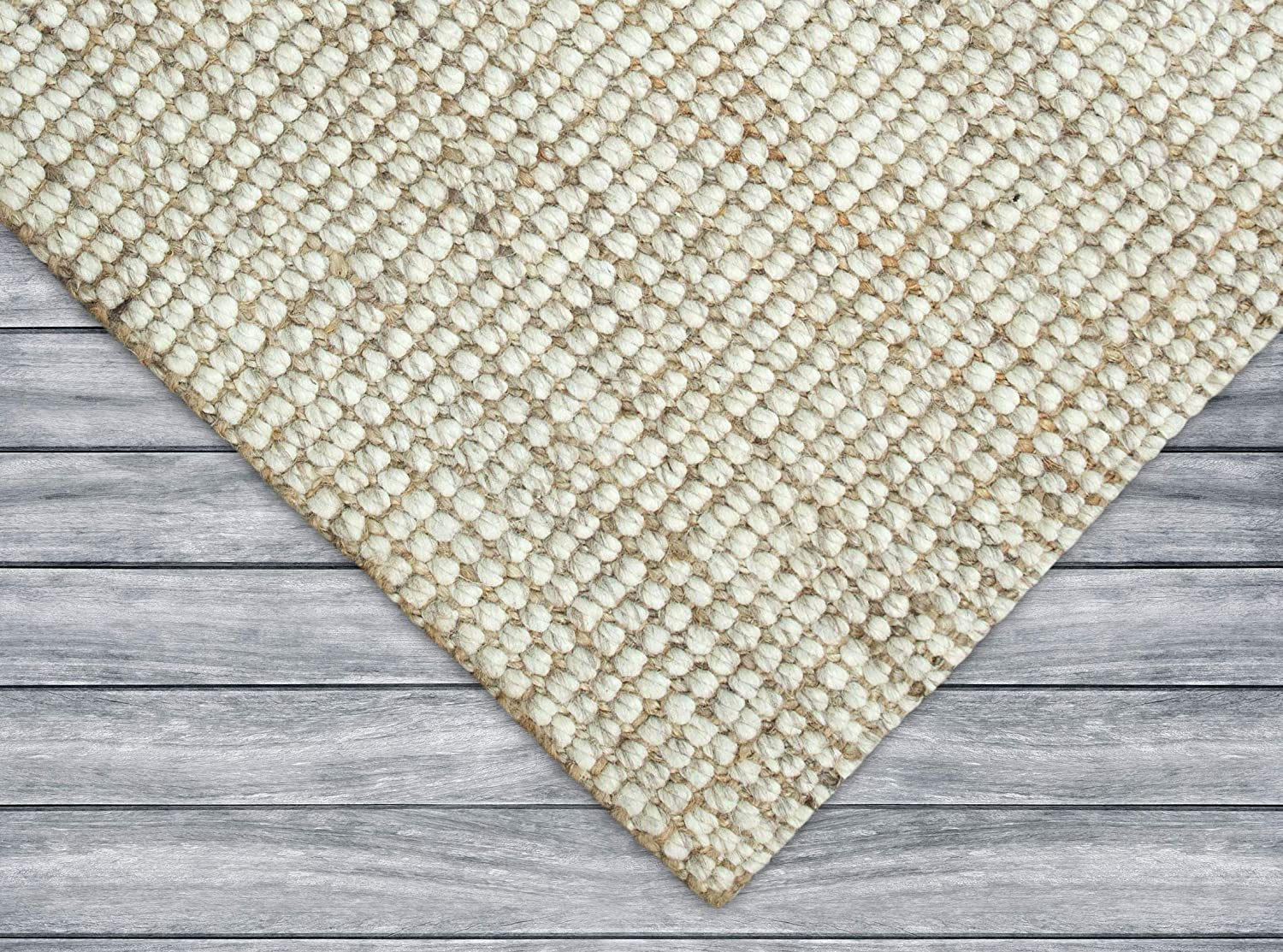 Iron Gate Handspun Wool Jute Area Rug 3x5 Feet -Natural - Hand Woven by Skilled Artisans, Made from Natural Jute Yarns, Thick Ribbed Construction, Reversible for Double The wear,