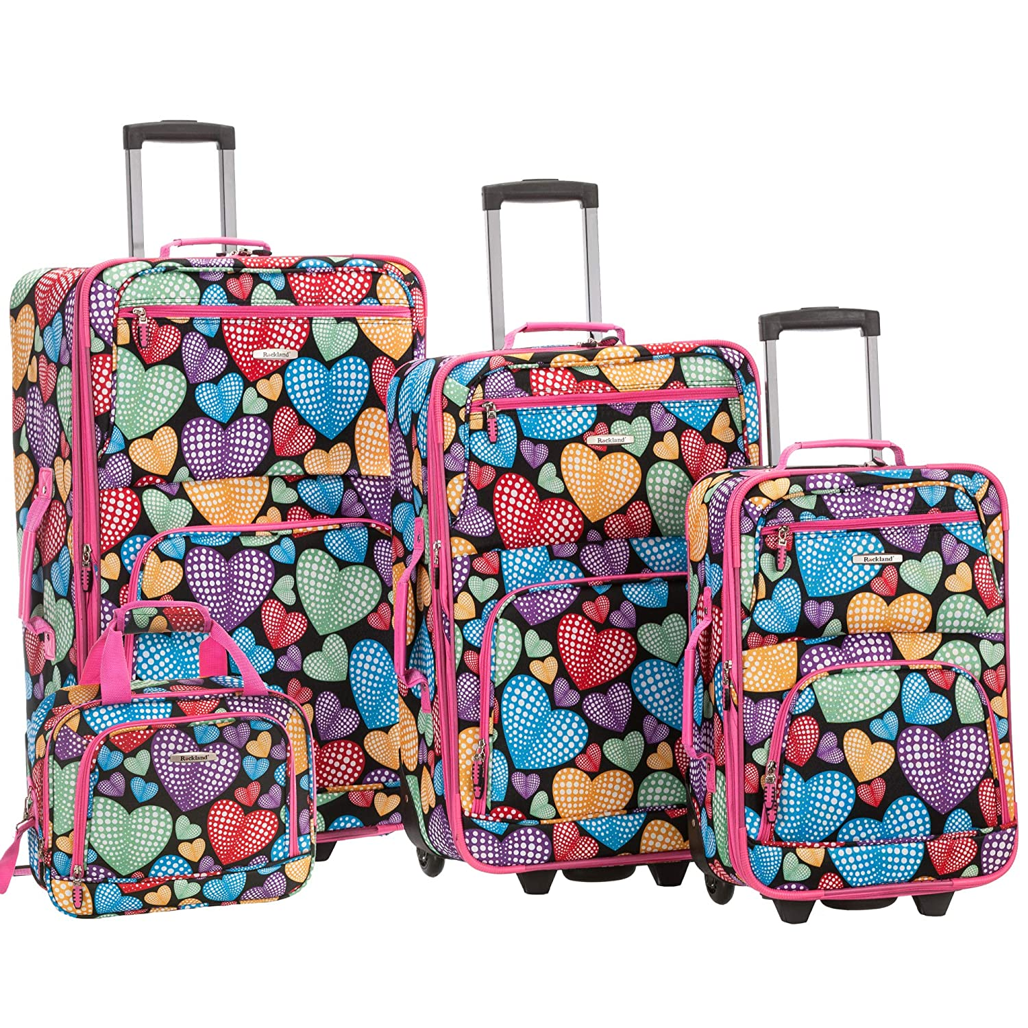 Rockland 4 Piece New Heart Luggage Set Newheart One Size Fox Luggage F125-NEWHEART