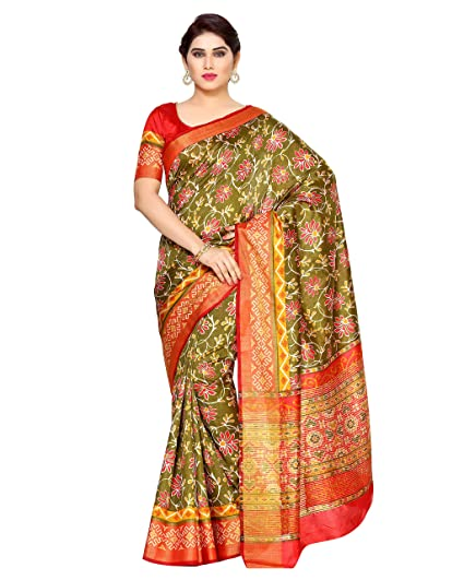 34124f209f MIMOSA Tassar Silk Saree With Blouse Piece(4126-Saln-4-Olv-Mrn_Olive Free  Size): Amazon.in: Clothing & Accessories