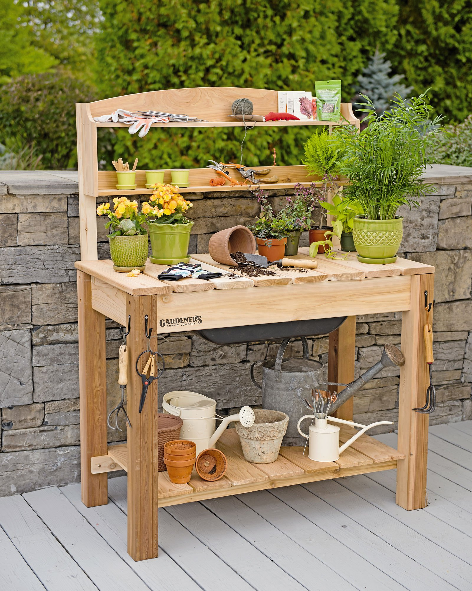 GSC Potting Bench with Shelves by Gardener's Supply Company