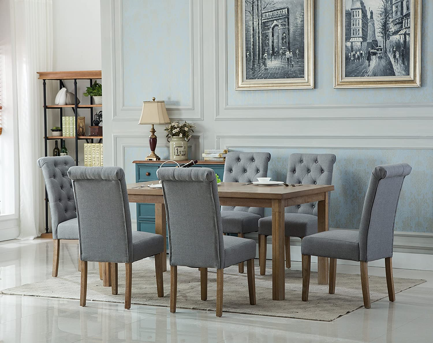 Roundhill Furniture Collection Monotanian Solid Wood Dining Table with 6 Button Tufted Chairs, Gray,