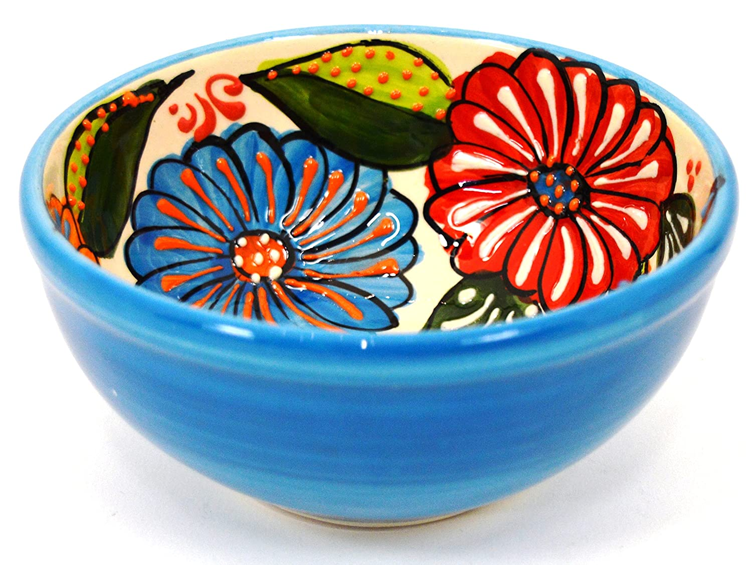 Ceramic Octagonal Tray, Handmade and Handpainted in Flower Decoration. 7,68' x 4,92' x 0,98' (Light Blue)