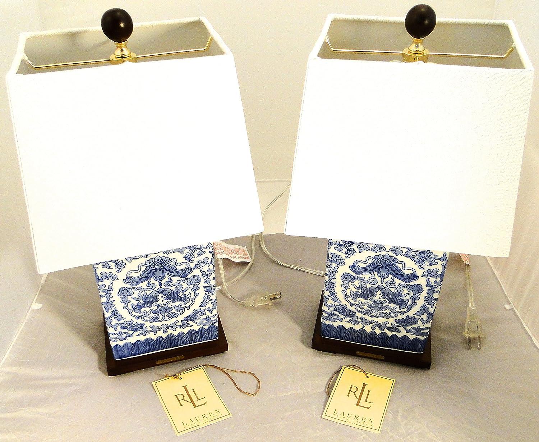 Pair Of 2, Ralph Lauren Zen Koi Fish Porcelain Ceramic Blue U0026 White  Traditional Table Lamps     Amazon.com