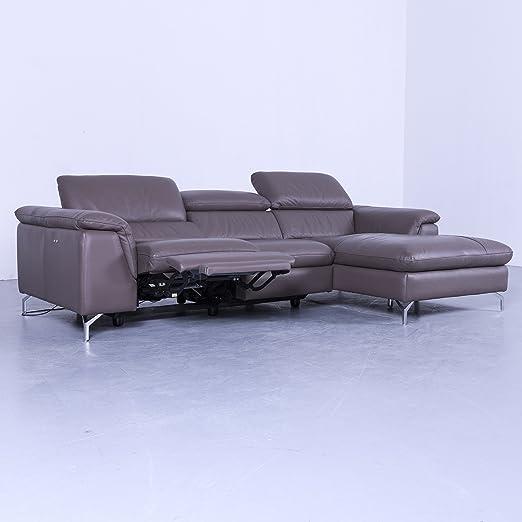 Designer esck sofá gris marrón pardo piel sofá relax sofá ...