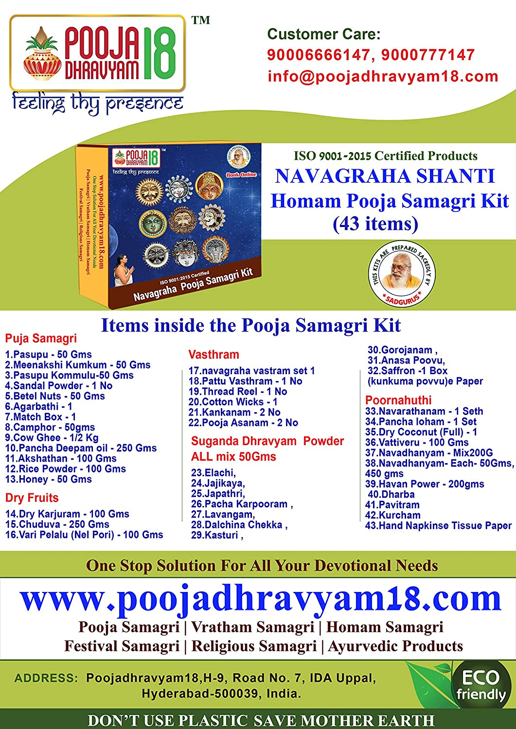 Buy Poojadhravyam18 Navagraha Pooja Samagri Kit Online at Low Prices
