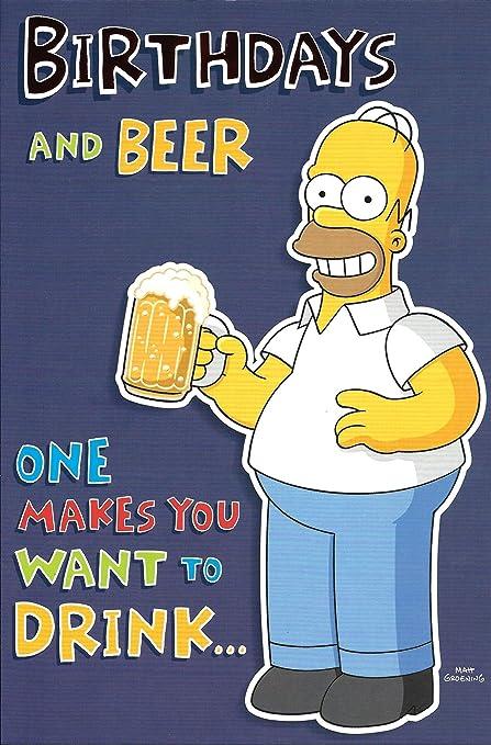 Tarjeta De Cumpleaños Y Cerveza General De The Simpsons
