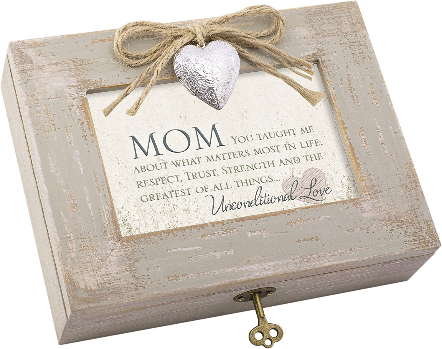 Cottage Garden Mom Taught What Matters Most Natural Taupe Jewelry Music Box Plays Wind Beneath My Wings