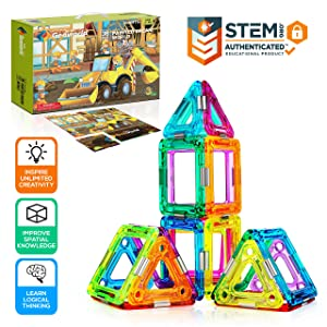 Magnetic Building Blocks for Kids - Preschool Learning Toys Shapes Block Educational Magnet Tiles Kids Toy Set - Safe Durable Non-Toxic Magnetic Blocks for 3-Year-Old and Up - Hurtle HURMT36 (36 pcs)
