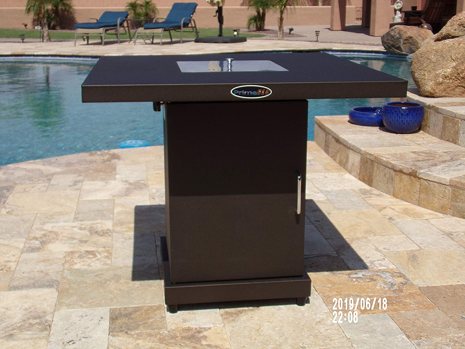 Hiland GSF-PR-PC-A Propane Fire Pit Hammered Bronze//Stainless Steel Bundle