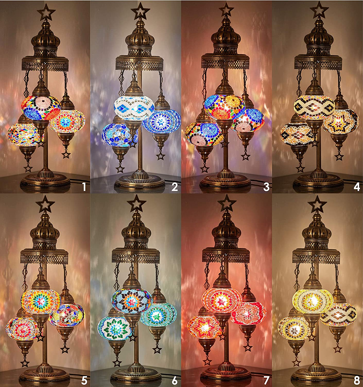 (16 Colors) Demmex 2020-3 Big Globes Magnificent Handmade Turkish Moroccan Mosaic Tiffany Table Desk Bedside Lamp Lampshade Night Accent Mood Light for North American Use, 31