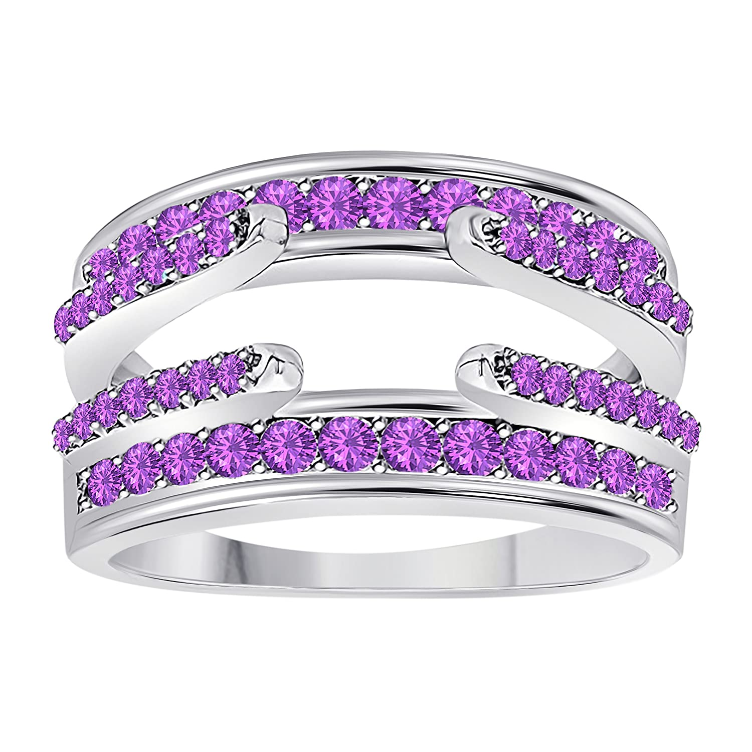 .925 Sterling Silver Plated Combination Curved Style Cathedral Wedding Ring Guard Enhancer with CZ Purple Amethyst (1.10 ct. tw.) Star Retail SRFiftythree-25