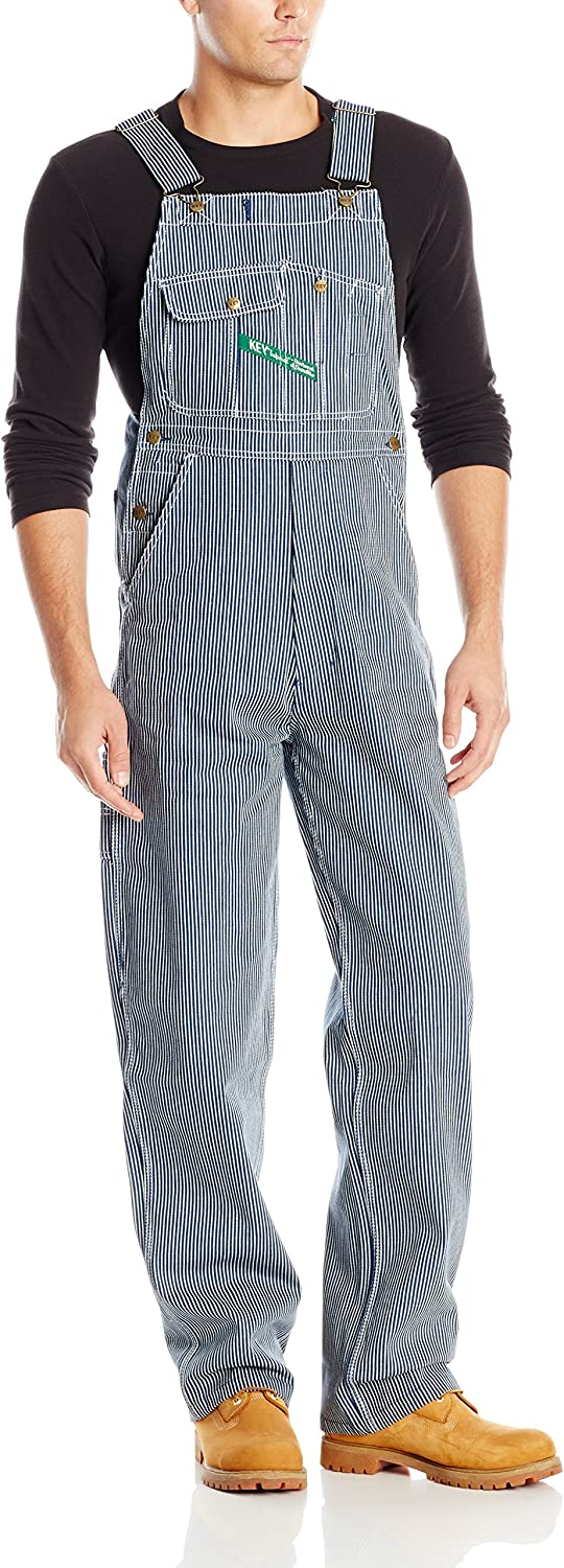 Men's Vintage Workwear Inspired Clothing Key Apparel Mens Hickory Stripe High Back Bib Overall $62.95 AT vintagedancer.com