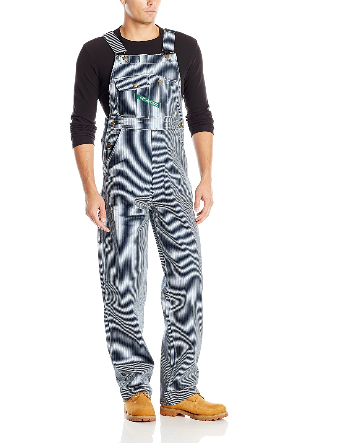 Edwardian Men's Pants Key Apparel Mens Hickory Stipe High Back Bib Overall $54.97 AT vintagedancer.com