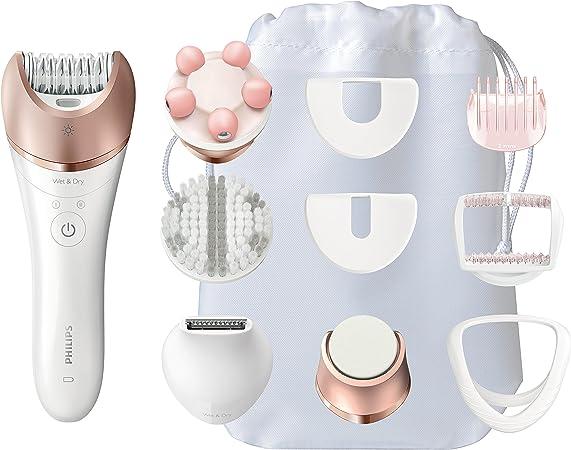 Philips Satinelle Prestige BRE652/00 - Depiladora para mujer, inalámbrica, 9 accesorios, lima electrónica para pies, color rosa y blanco: Amazon.es: Salud y cuidado personal