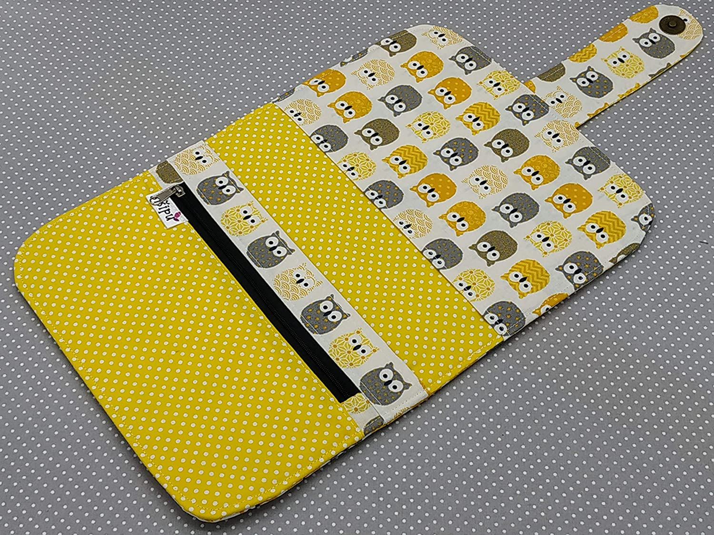 Windeltasche Wickeltasche Baby Geschenk Gelbe Eulen