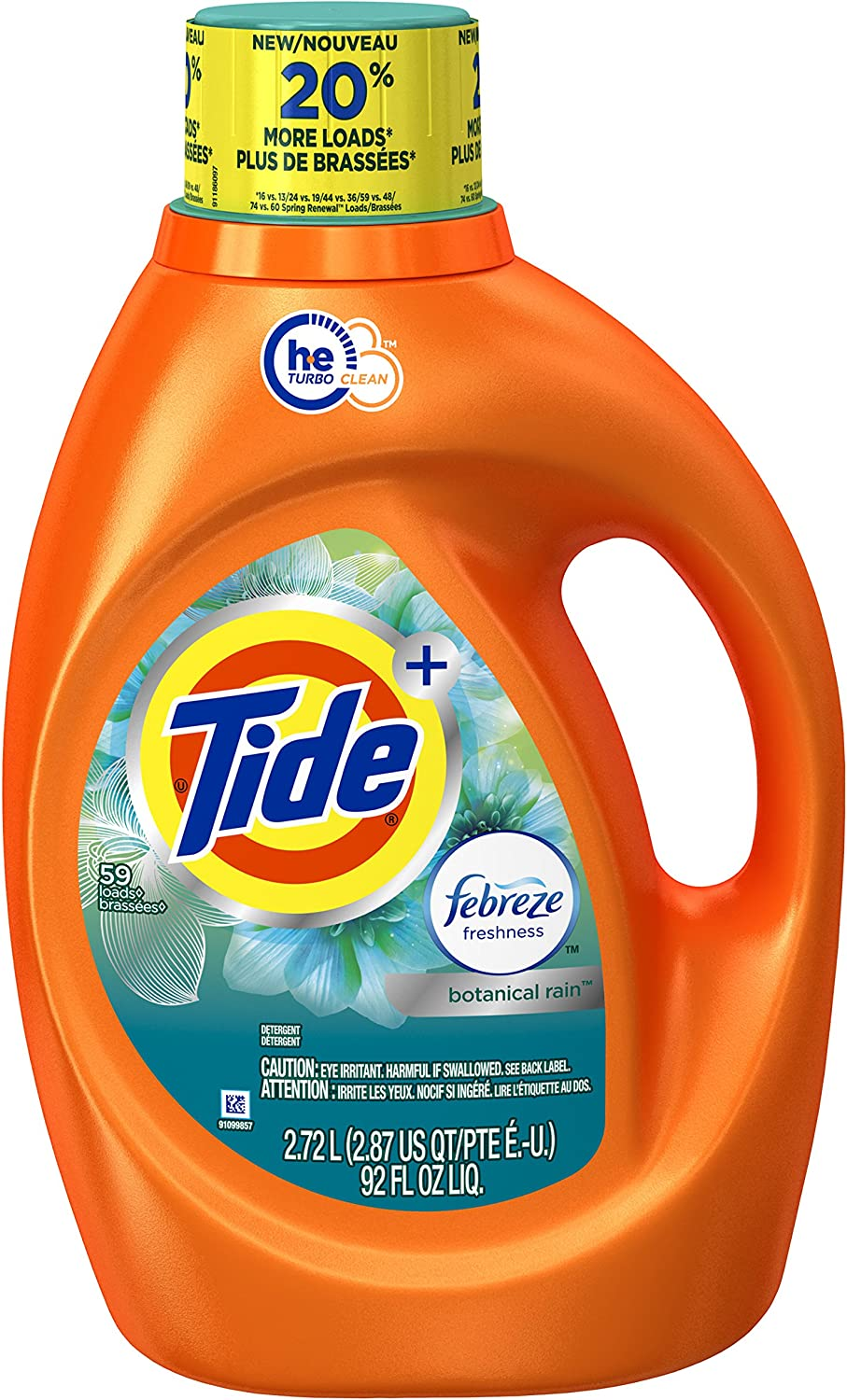 Tide 59 Loads Plus Febreze Freshness Botanical Rain He Turbo Clean Liquid Laundry Detergent, 92 Fluid Ounce(Packaging May Vary)