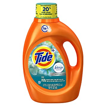 Tide 59 Loads Plus Febreze Freshness Botanical Rain He Turbo Clean Liquid Laundry Detergent, 92