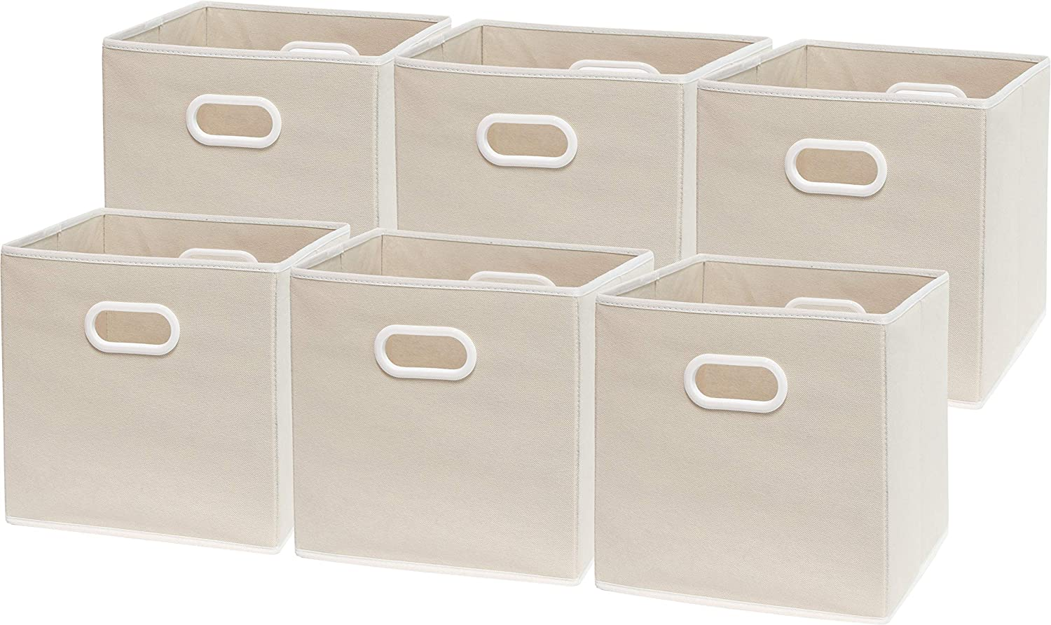 6 Pack - SimpleHouseware Foldable Cube Storage Bin with Handle, Beige (12-Inch Cube)