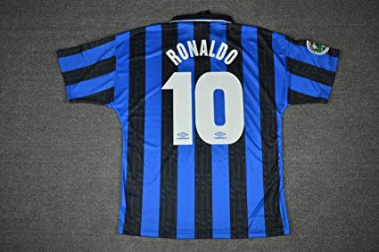 7a4626705 Amazon.com   Retro Ronaldo 10 Inter Milan Home Soccer Jersey 97-98 ...