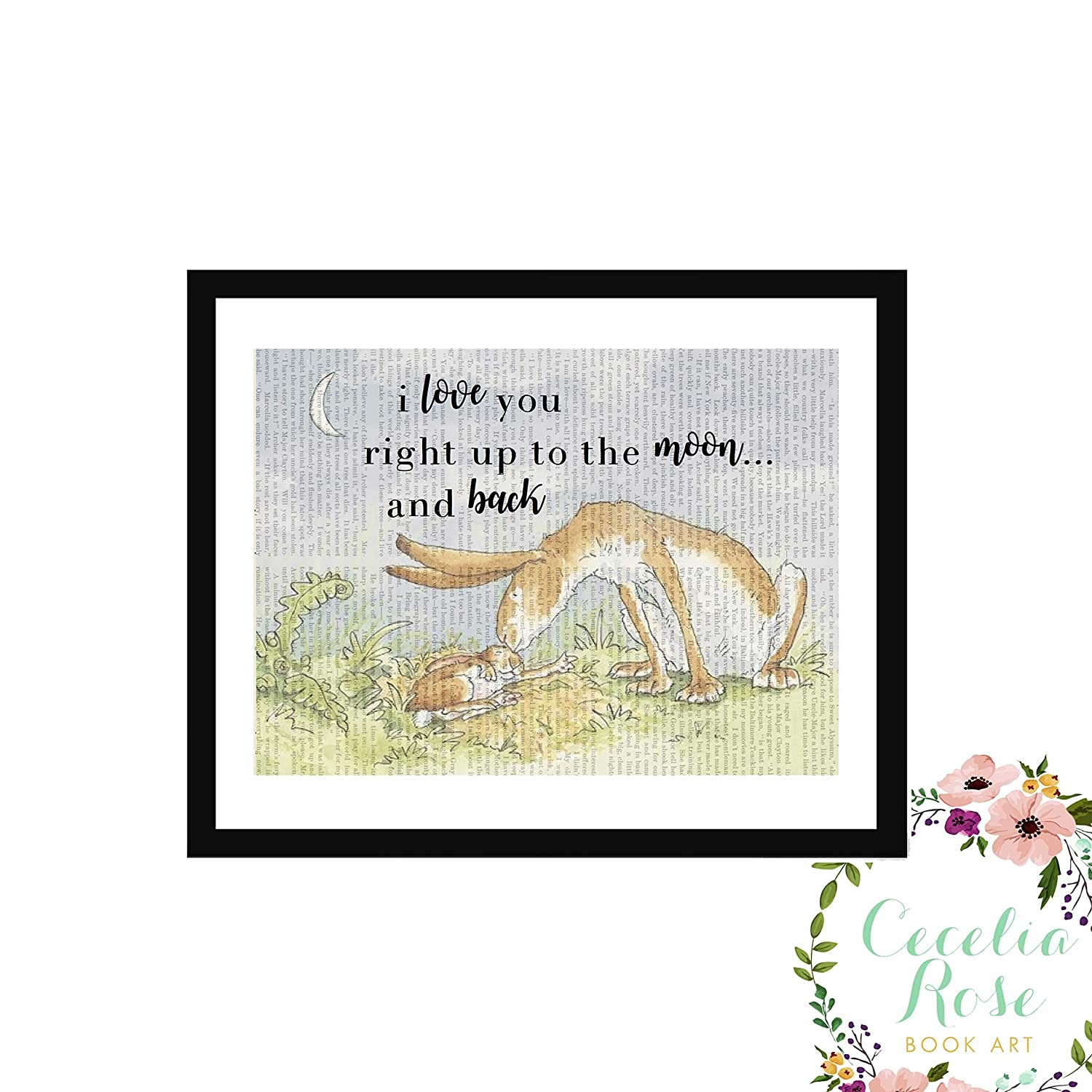 I Love You Right Up To The Moon And Back Sam McBratney Guess How Much I Love You Farmhouse Style Upcycled Vintage Book Page Art Unframed Print