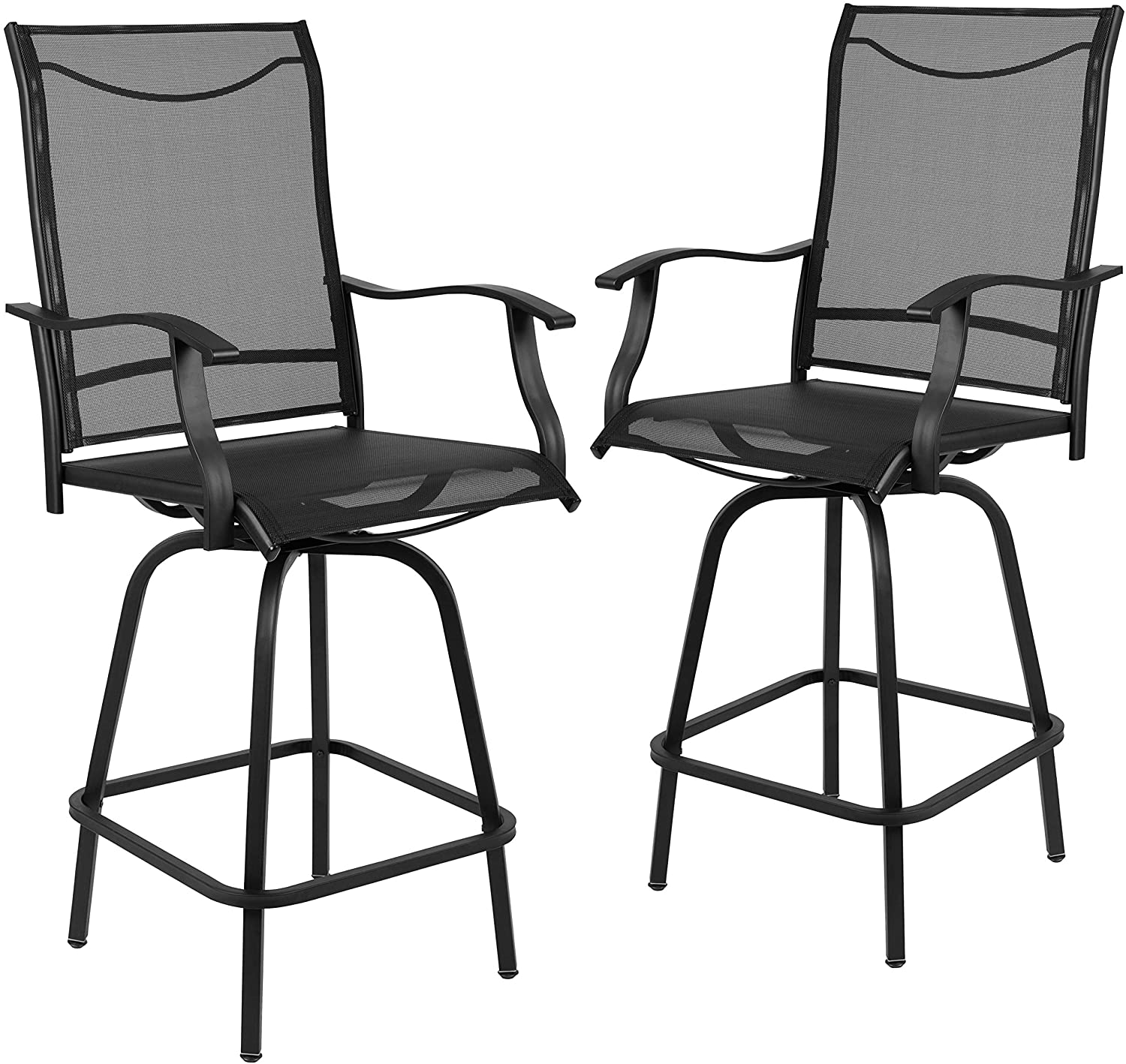 """Flash Furniture 30"""" All-Weather Patio Swivel Outdoor Stools, Black, Set of 2"""