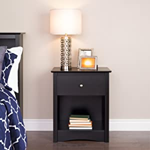 Prepac Sonoma Nightstand, Tall 1-Drawer, Black