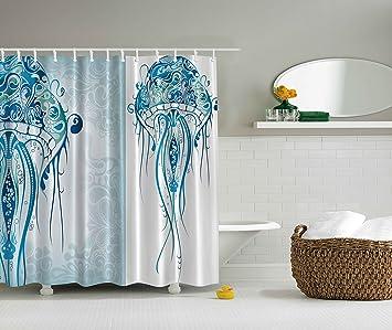 Curtains Ideas blue paisley shower curtain : Amazon.com: Sea Creatures Artistic Nautical Coastal Decor by ...