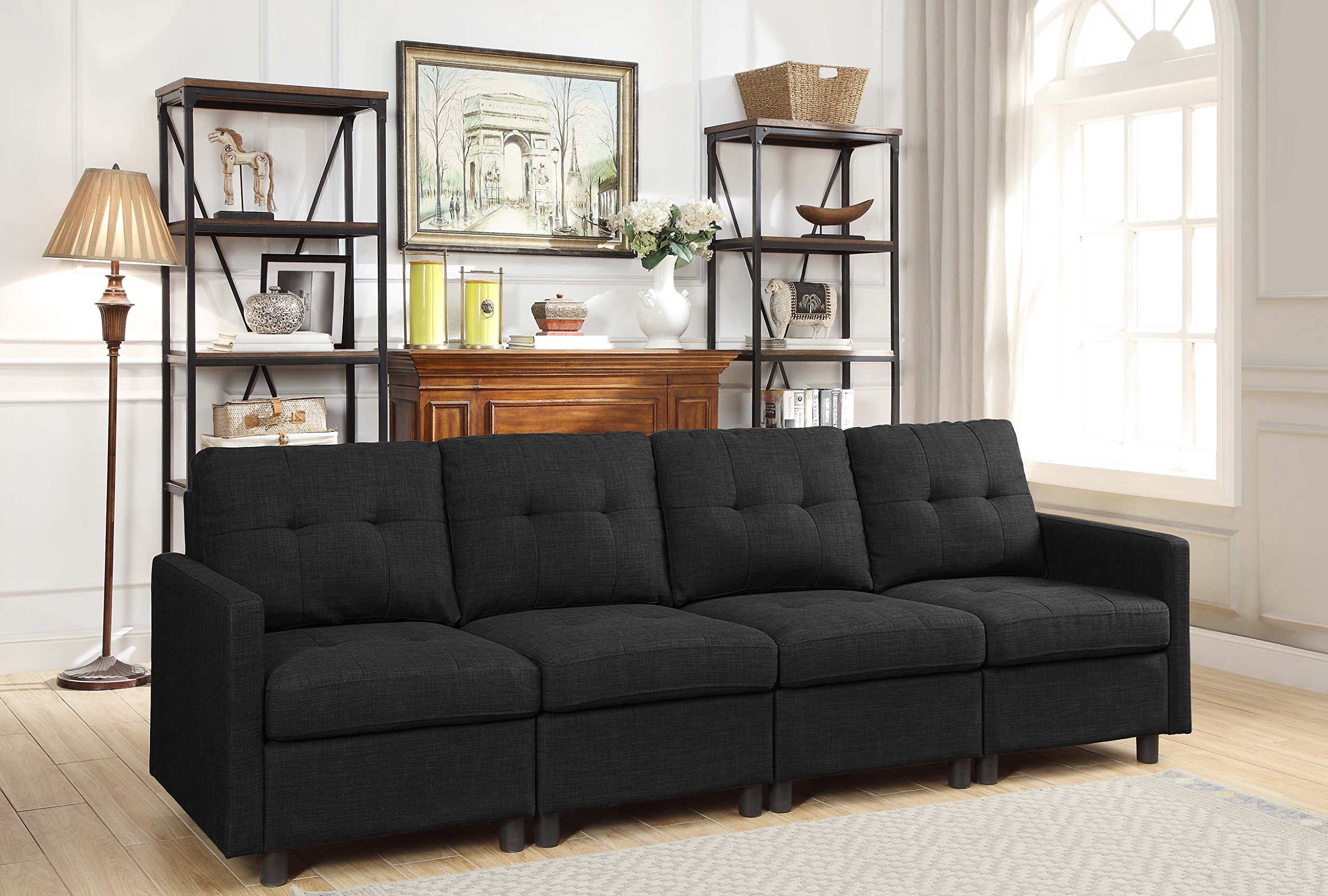 DAZONE Modular Sectional Sofa Assemble 4-Piece Modular Sectional Sofas Bundle Set Cushions, Easy to Assemble Left & Right Arm Chair, Armless Chair Living Room Set Sofas Charcoal Black by DAZONE