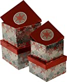 Christmas Gift Boxes; set of 4 foil boxes in different sizes with shiny colorful Snowflakes