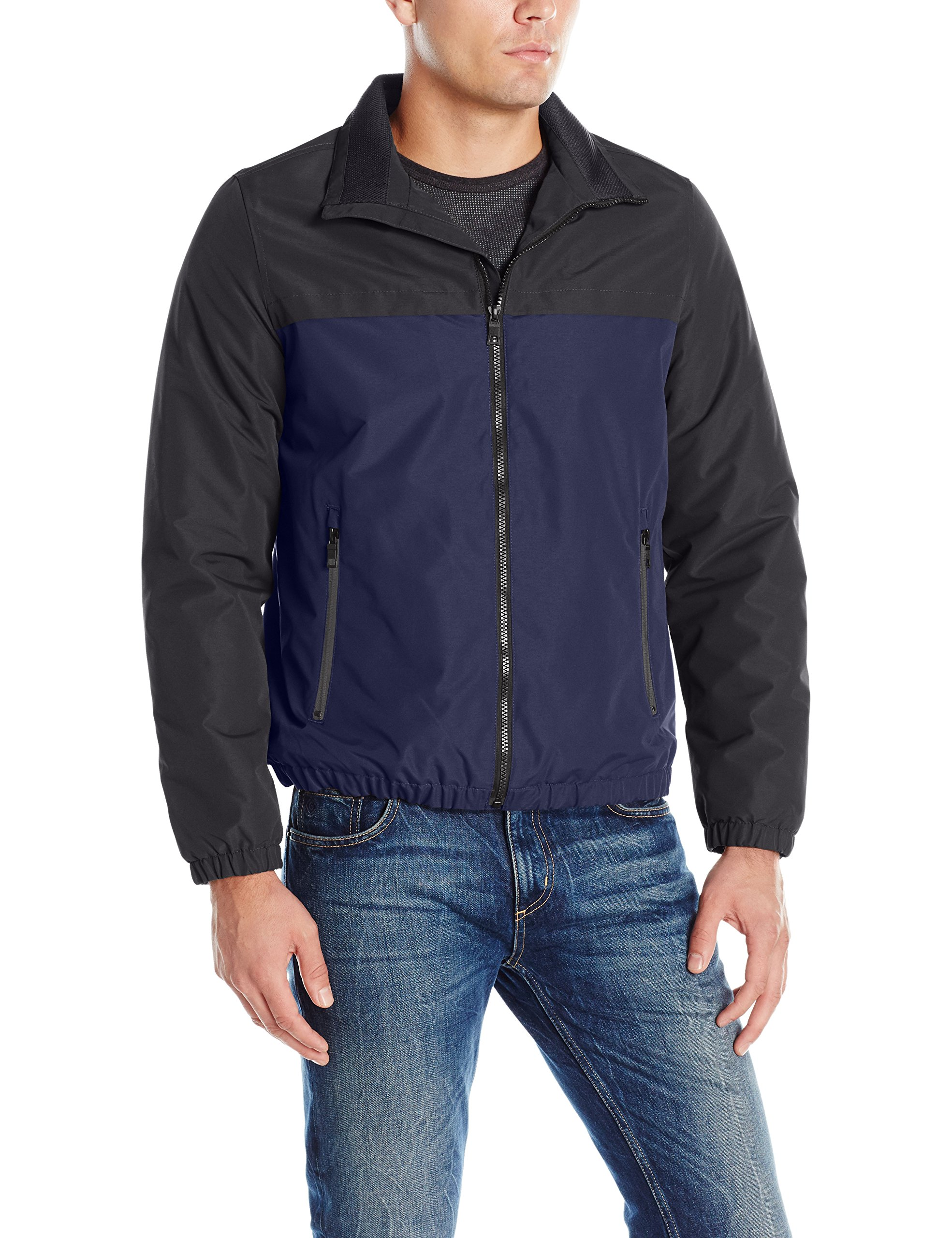 Nautica Men's Brushed Radiance Zip Front Jacket, Black/Navy, M by Nautica