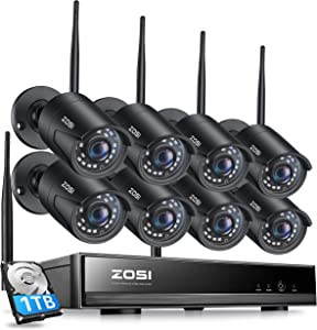 ZOSI 1080P Wireless Home Security Camera System, H.265+ 8CH CCTV Network Video Recorder (NVR) with Hard Drive 1TB and 8 x 1080P Auto Match WiFi IP Camera Outdoor Indoor,80ft Night Vision,Remote Access