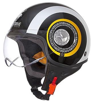 Rodeo Drive Casco de Moto D/Jet Sforabile, Negro/Blanco, 55-