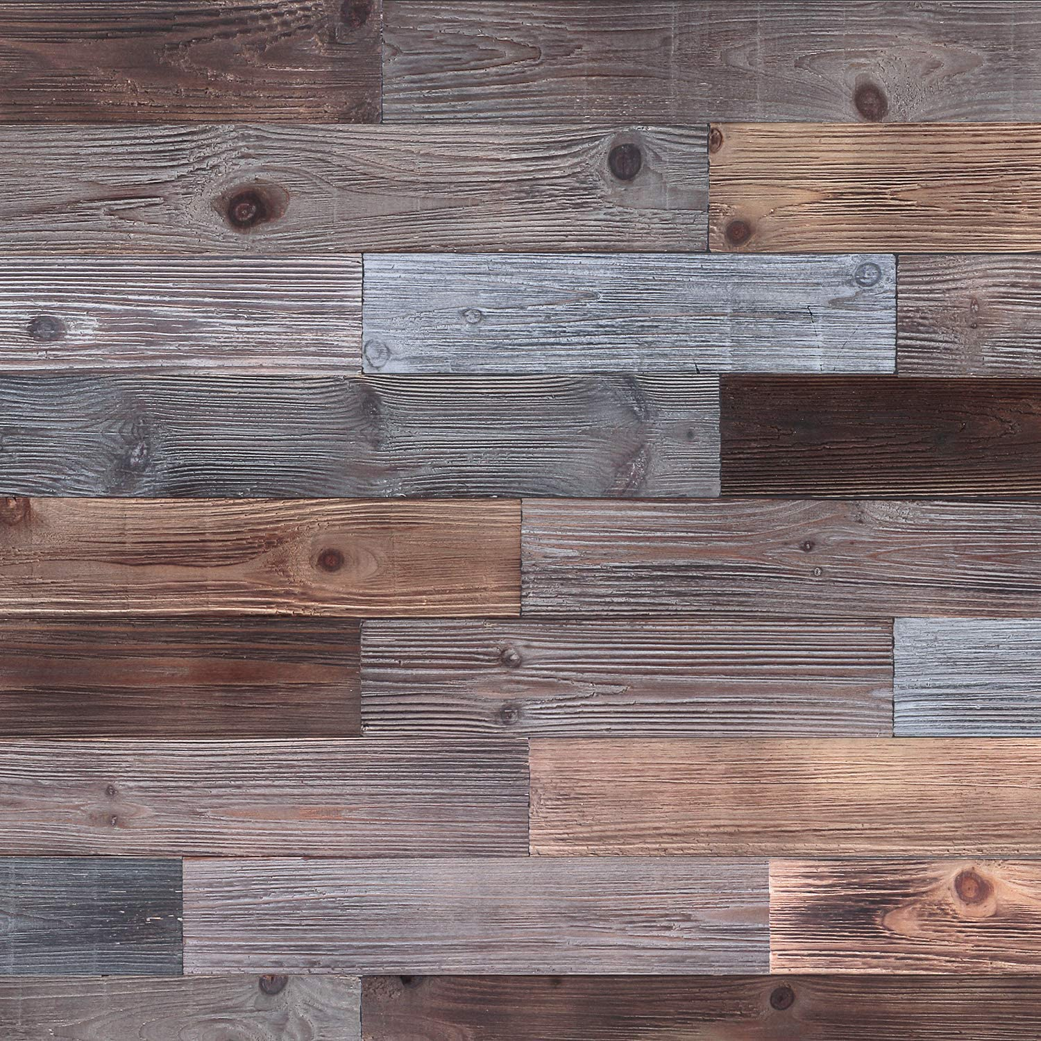 Holydecot Reclaimed Barn Wood Wall Panels - DIY Peel and Stick Easy Installation, 10.6 Sq Ft
