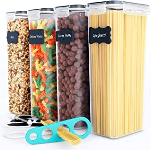 Chef's Path Airtight Tall Food Storage Container Set - Ideal for Spaghetti, Noodles & Pasta - 4 PC/All Same Size - Kitchen & Pantry Organization - Plastic Canisters with Durable Lids (Black)