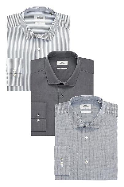next Hombre Pack De Tres Camisetas Ajustadas con Diseño Liso, De Rayas Y A Cuadros Gris