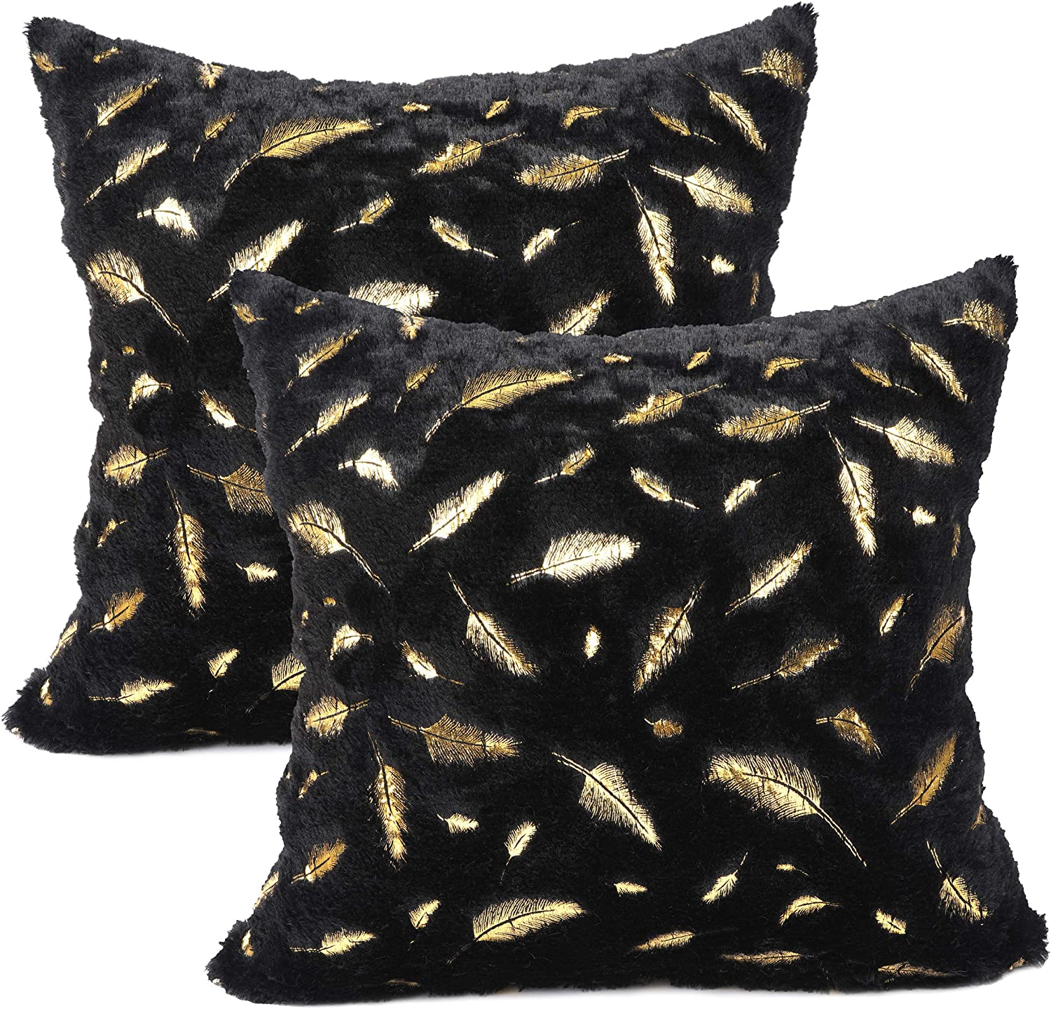 Luxury Large Gold Feather Plush Fur Soft Cushion Cover Pillow Case Home Decor