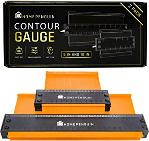 """Contour Gauge With Adjustable Lock - Precise Irregular Shape Duplicator Infinity Profile Tracing Tool - Perfect For Copying - 10 In"""" & 5 In"""" Pack - Perfect For Welding Woodworking Construction Molding"""