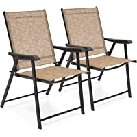 Best Choice Products Set of 2 Outdoor Mesh Patio Folding Sling Back Chairs w/Steel Frame, Brown