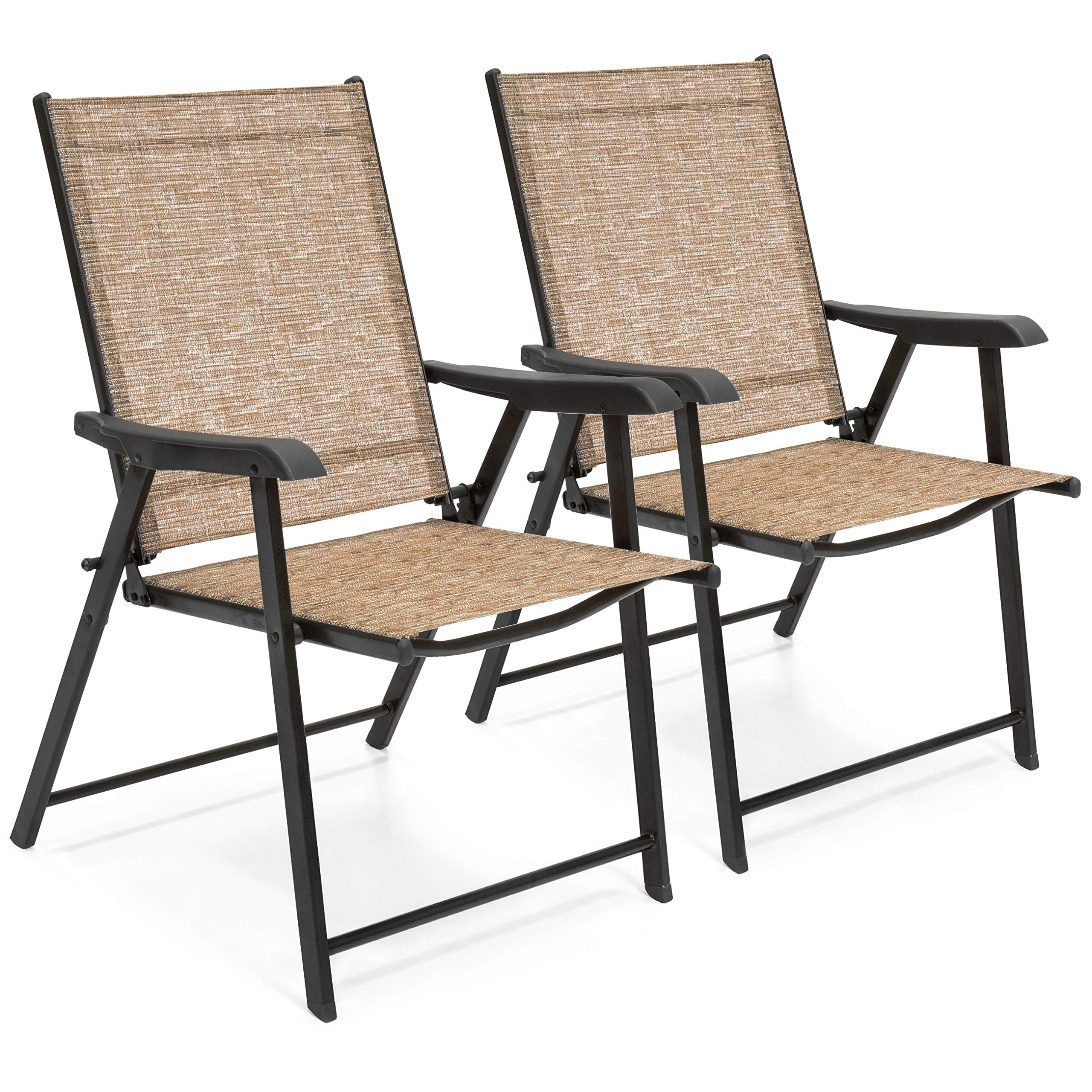 Best Choice Products Set of 2 Outdoor Mesh Patio Folding Sling Back Chairs w/Steel Frame, Brown by Best Choice Products