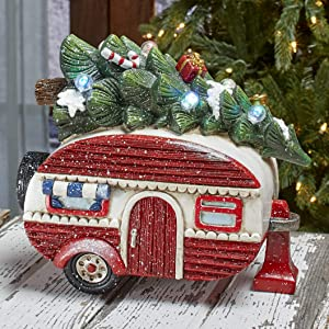 The Lakeside Collection Retro Camper Lighted Decorative Holiday Shelf Art with Christmas Tree