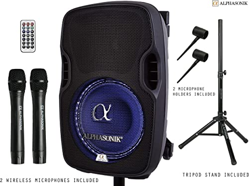 Alphasonik 10 Portable Rechargeable Battery Powered 1000W Pro DJ Amplified Loud Speaker with 2 Wireless Microphones Echo Bluetooth USB SD Card Aux MP3 FM Radio PA System LED Ring Karaoke Tripod Stand