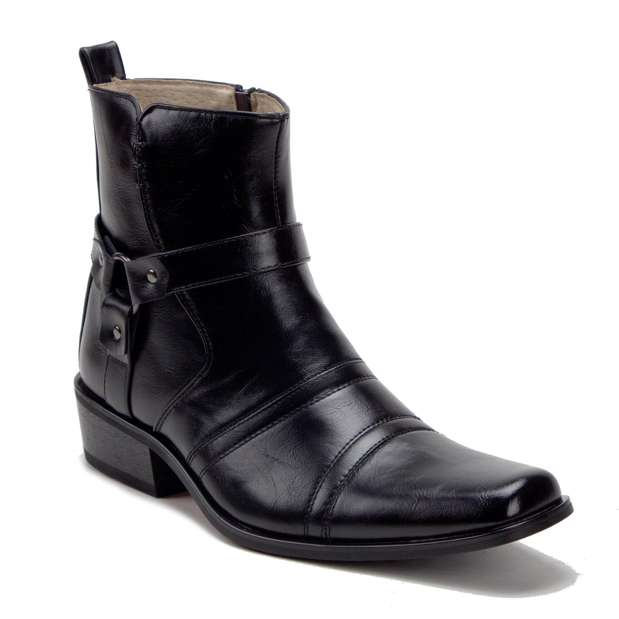 Jazame Men's 39093 Leather Lined Tall Western Style Cowboy Dress Boots, Black, 11