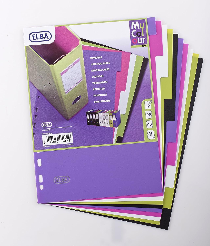 ELBA 400004810 Kunststoff-Register myColour 20er Pack blanko 10 Blatt 10-teilig f/ür DIN A4 Plastikregister mit beschriftbarem Deckblatt Ringbuch Ordner Ring-Mappe multicolor