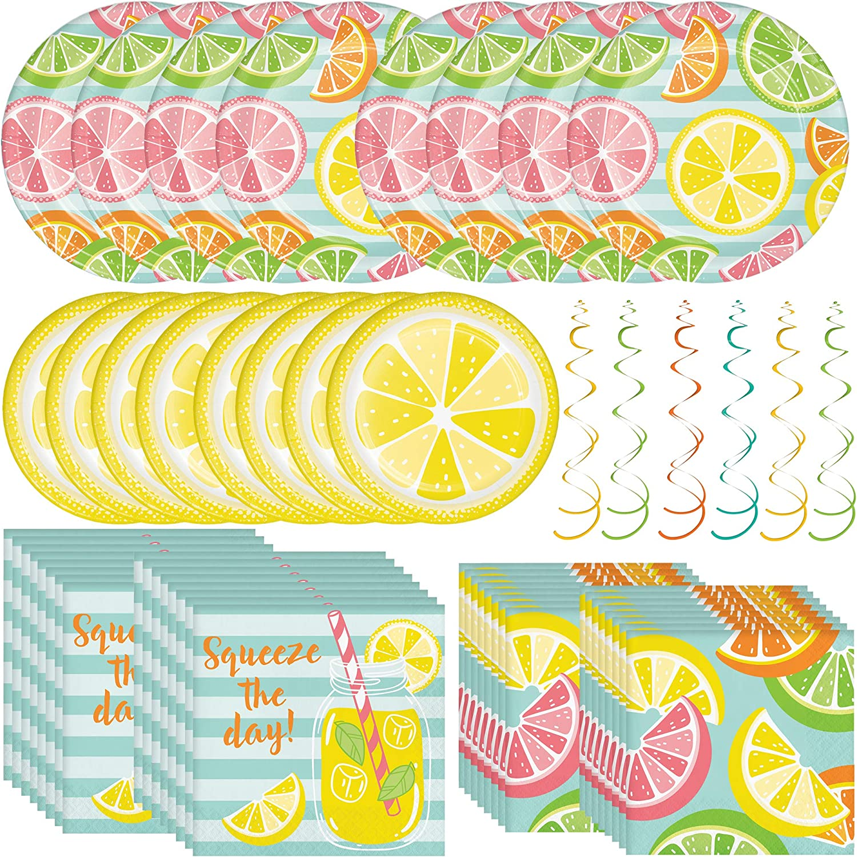 Creative Converting Summer Citrus Dinnerware Bundle | Plates, Napkins, Hanging Decor | Kids Birthday Party, Beach Theme Decoration, Outdoor Wedding Party
