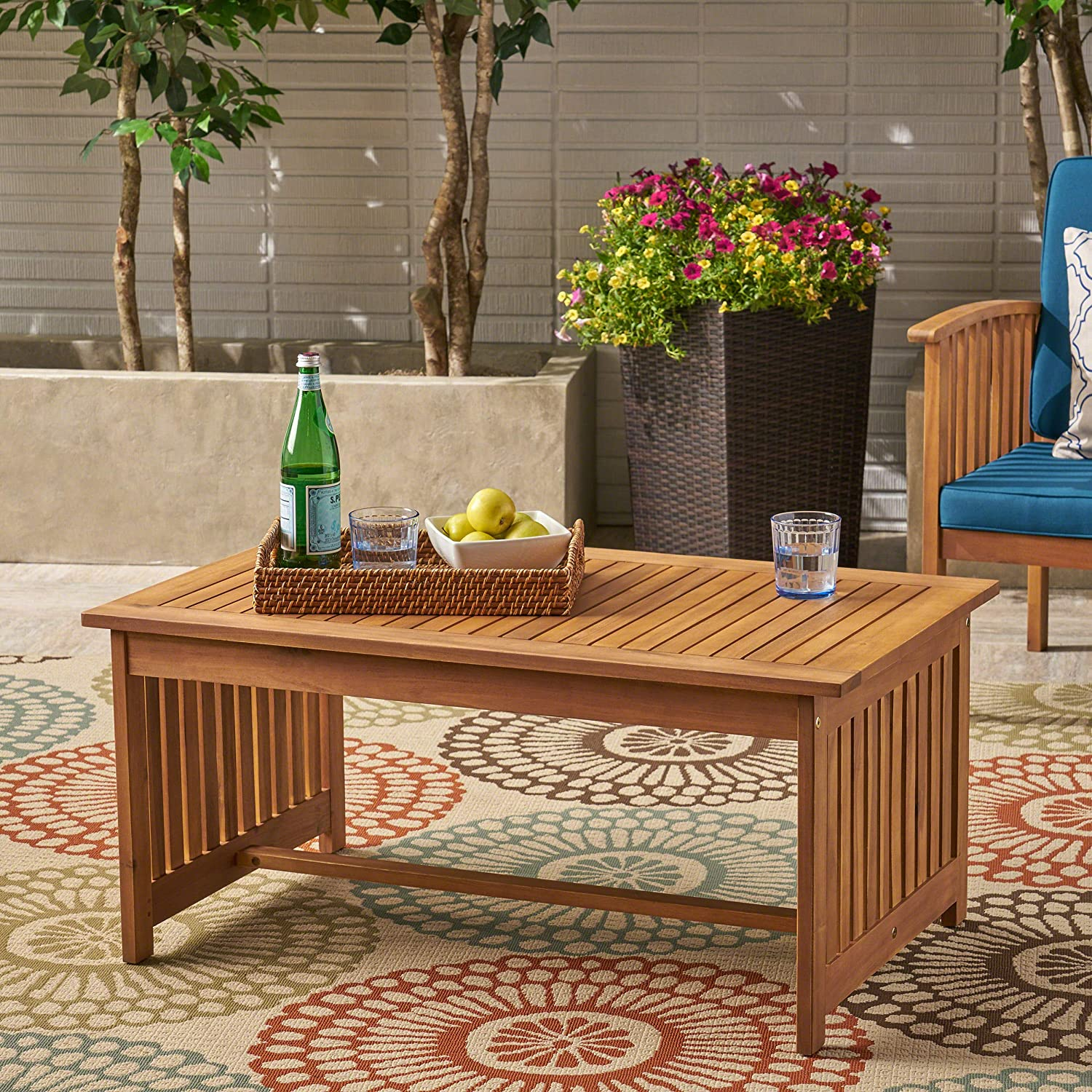 Great Deal Furniture Grace Outdoor Acacia Wood Coffee Table, Brown Patina Finish