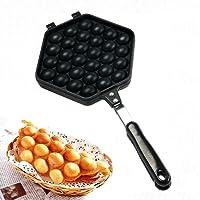 YaeKoo Egg Waffle Pan,Non-Stick Grill Egg Cake Pan Egg Puff Waffle Maker Double Sided Iron Pressure Pan,Black