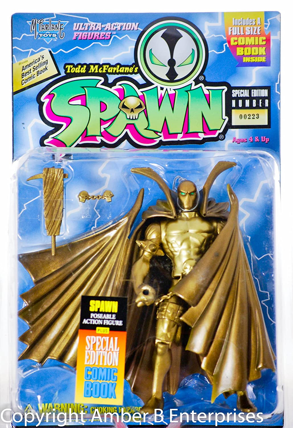 Spawn 1995 - McFarlane Toys Special Edition Number 00224 - Gold Ultra-Action Figure - Special Edition Comic Book Included - 6 Inches - Out of Production - New - Mint - Rare - Collectible