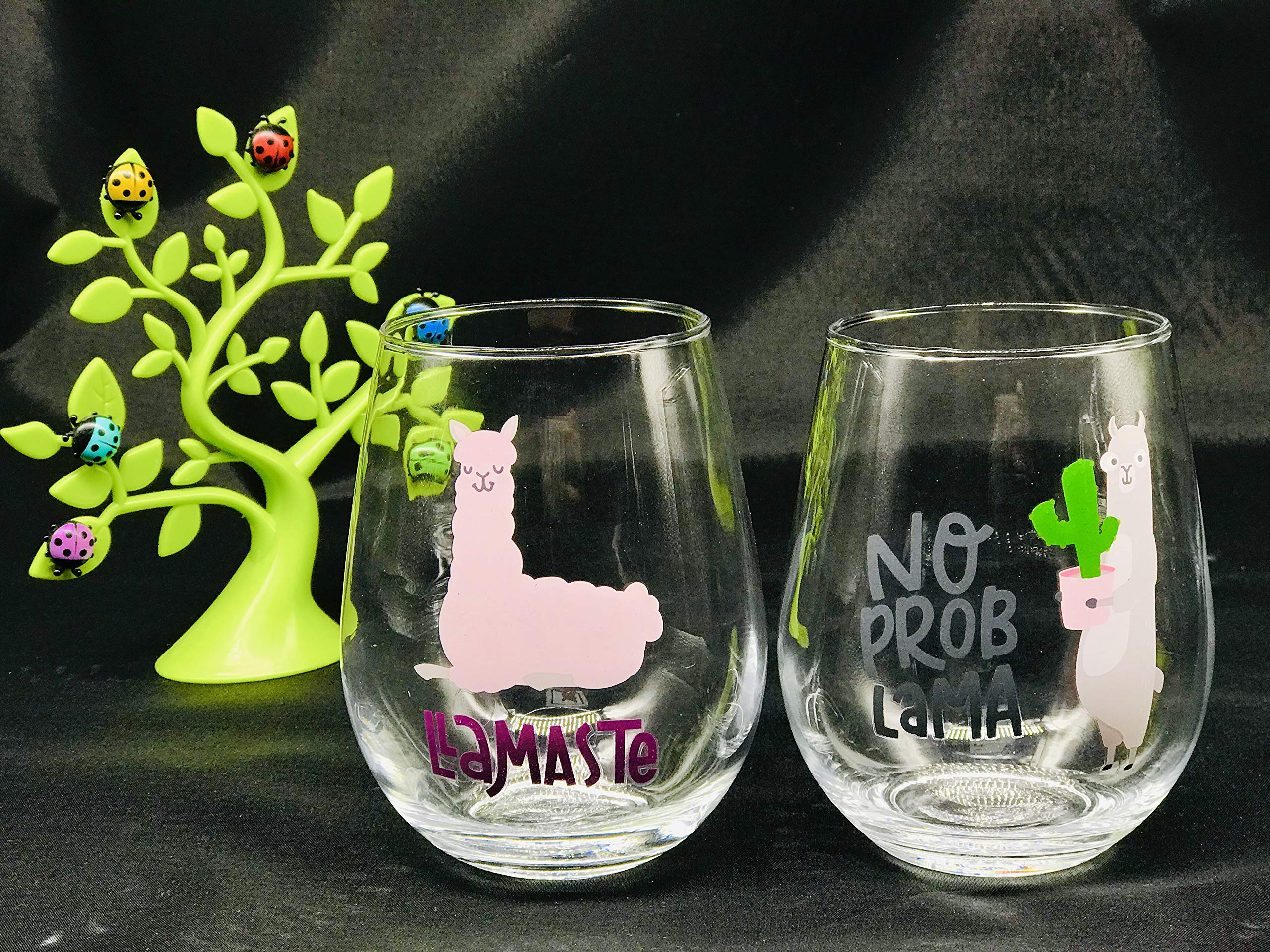No Prob lama and Llamaste,Funny Llama Stemless 22oz Wine Glass set of 2 Happy Valentine Gift, birthday gift, for couple, boy friend girl friend best friend anniversary gift his her wedding gift