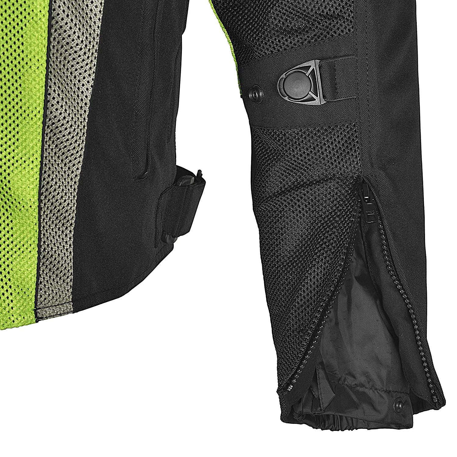 Men Motorcycle Mesh Race Jacket with CE Protection Neon Green Black MBJ054-1 XL