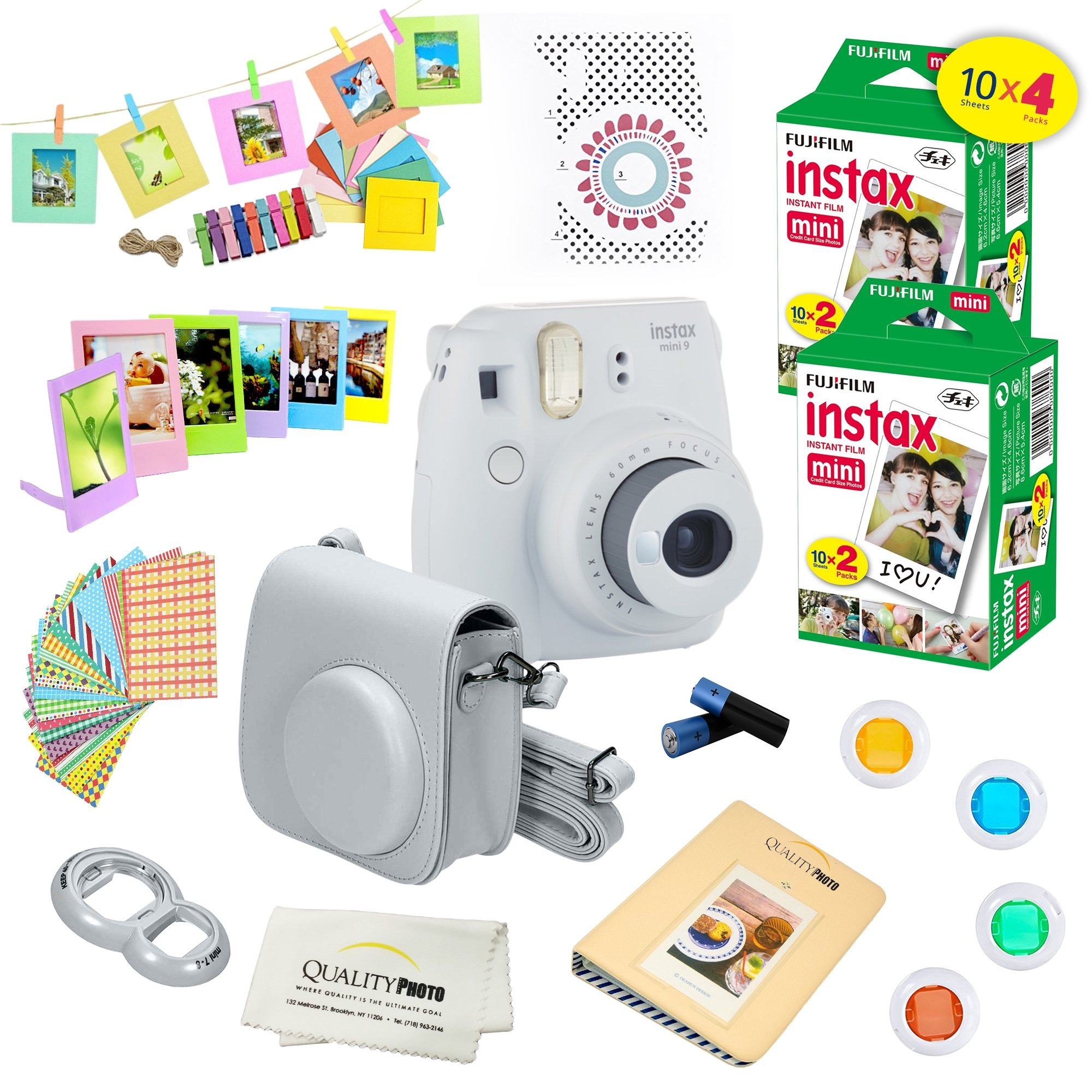 Fujifilm Instax Mini 9 Camera + Fuji INSTAX Instant Film (40 SHEETS) + 14 PC Instax Accessories kit Bundle, Includes; Instax Case + Album + Frames & Stickers + Lens Filters + MORE (Smokey White)